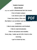 English Worksheet (About Myself)