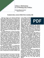 Radicalism or Reformism - Lipset