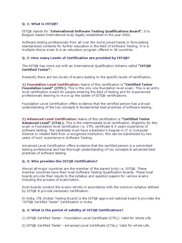 Istqb Information International Software Testing Qualifications