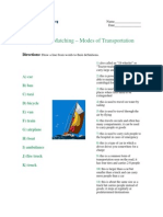 Advanced Matching - Modes of Transportation
