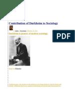 Contribution of Durkheim to Sociology