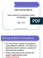 Solve Systems by Sub