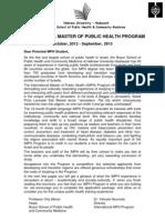 Brochure MPH Program Israel 2012-2013