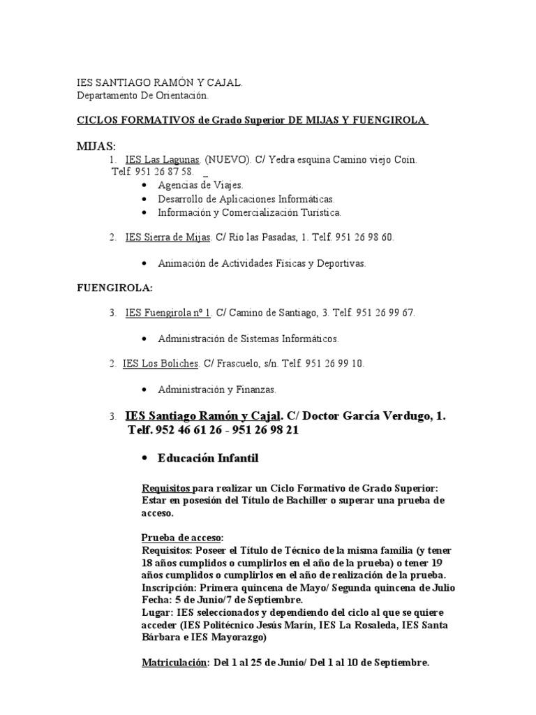Mijas Ies Santiago Ramón Y Cajal C Doctor García