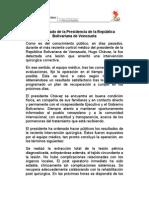 Comunicado da Presidência da República Bolivariana de Venezuela