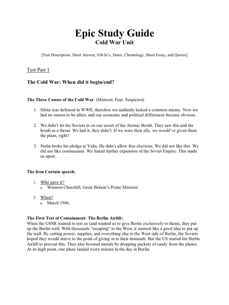 We Made It Quotes Cold War Unit Test  Study Guide  Intercontinental Ballistic