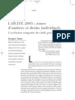 Laicite 2005 Zones d'Ombres Et Droits Individuels
