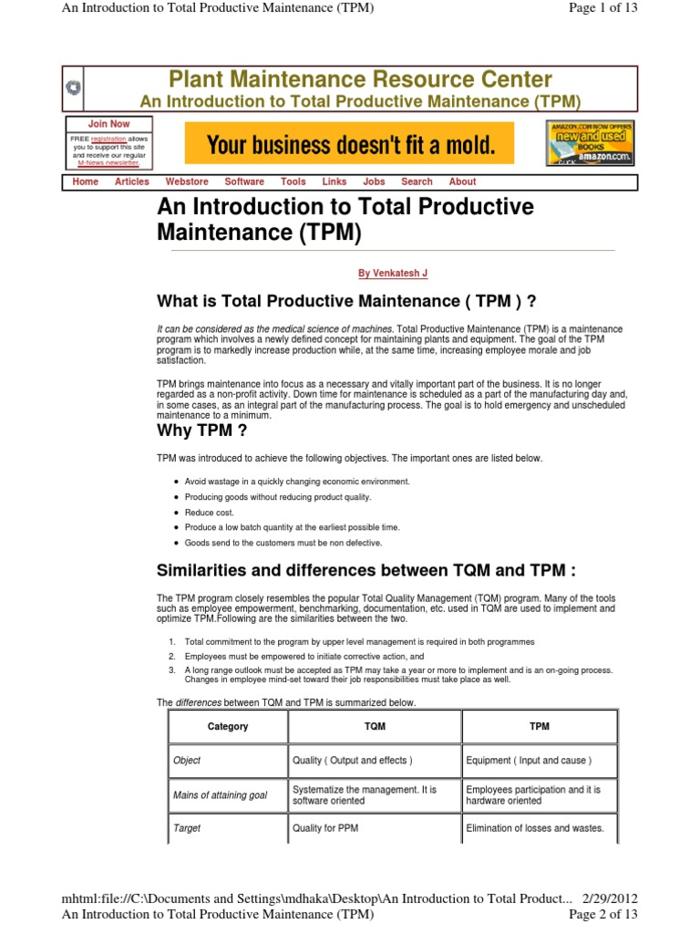 tpm   Reliability Engineering   Quality Assurance