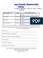 2012 MCDP Trail Blazer and the Legacy Reception Sponsorship Information