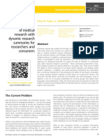 Increasing the efficiency of medical research with dynamic research summaries for researchers and consumers