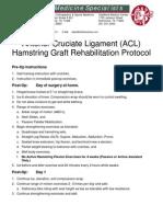 Anterior Cruciate Ligament (ACL) Hamstring Graft Rehabilitation Protocol
