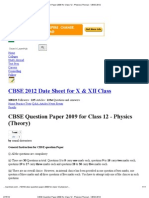 CBSE Question Paper 2009 for Class 12 - Physics (Theory) - CBSE 2012