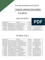 HORARIOS PARTIDOS 3-3
