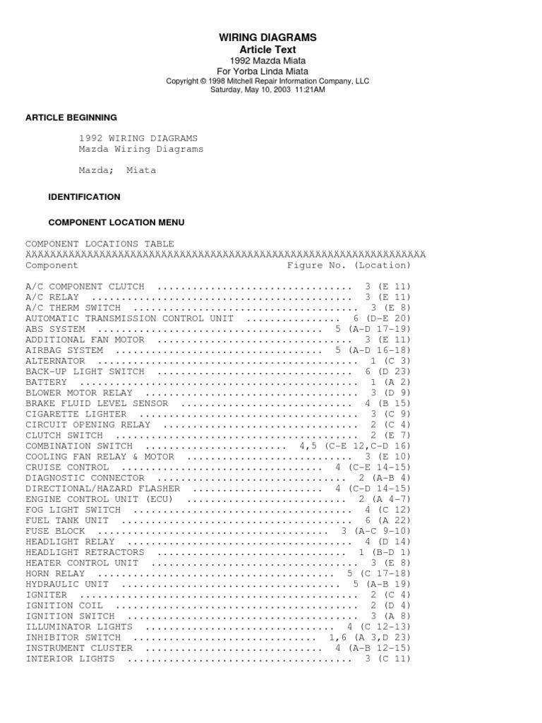 [XOTG_4463]  1992 Mazda Miata Car Wiring Diagrams | 1992 Miata Wiring Diagram |  | Scribd