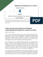Lettre Ouverte d'un Africain au Président Américain Barack Obama sur sa guerre en Libye