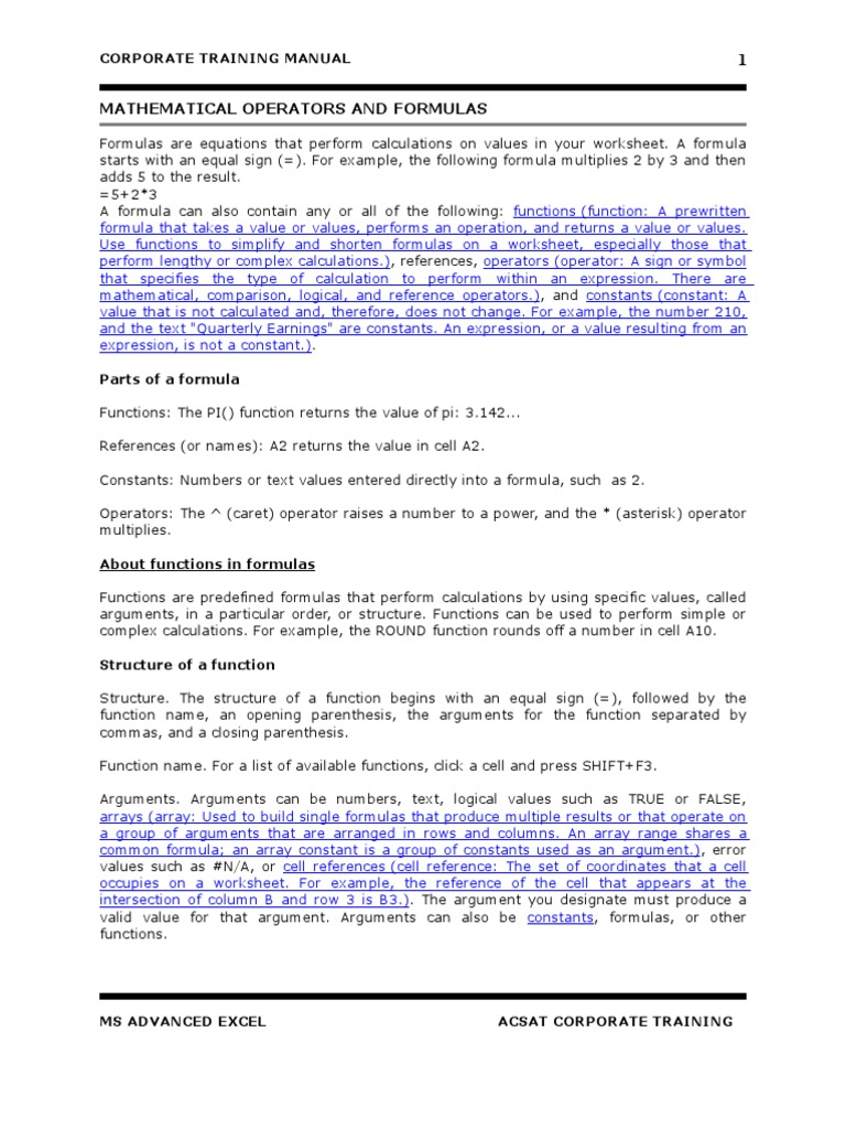 Workbooks copy formulas between workbooks : Advanced Ms Excel Manual | Microsoft Excel | Interest