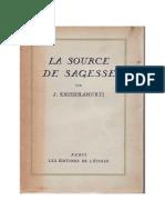 La Source de Sagesse, par J. Krishnamurti