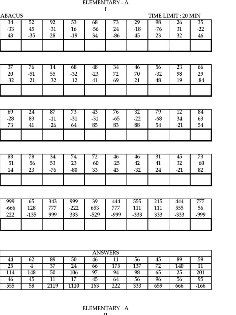 UCMAS Elementary A – Abacus Worksheets