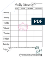 Weekly Menu Plan Printable- Cupcake
