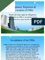 Acceptance, Rejection & Revocation of Offer PPT @ BEC DOMS