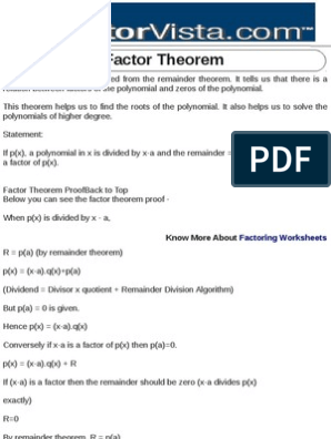 Factor Theorem | Division (Mathematics) | Polynomial