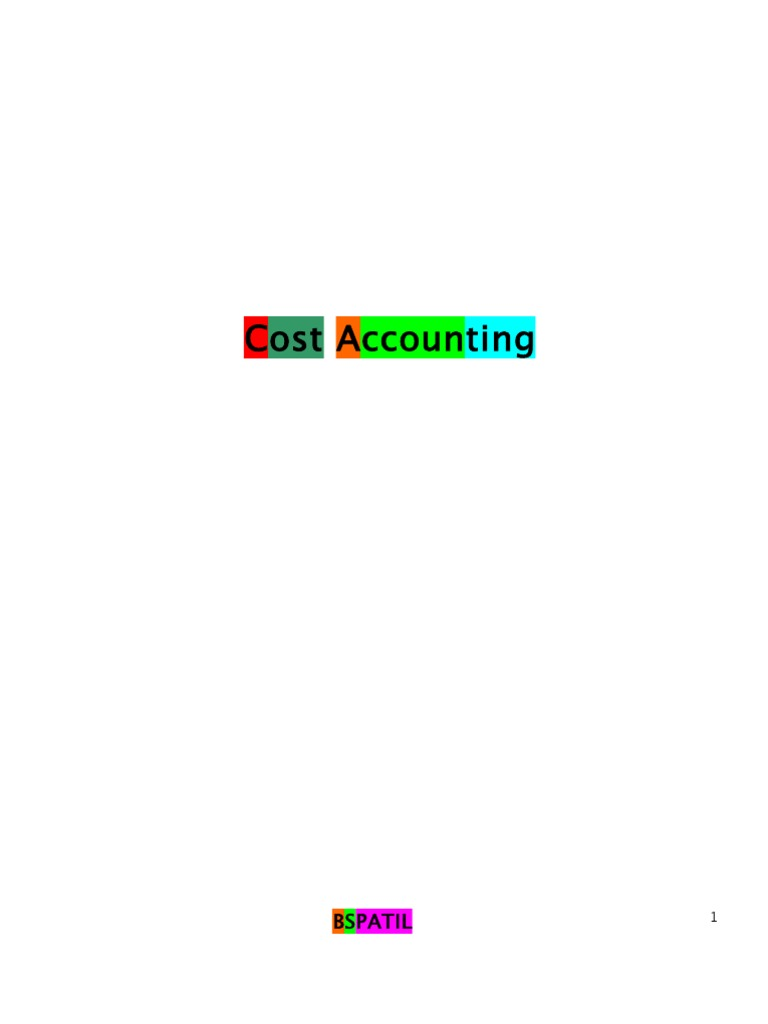 Cost Accounting Book of 3rd Sem Mba @ Bec Doms | Cost