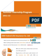 Summer Internship Program - IDBI Federal