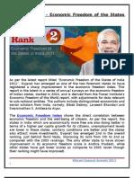 Gujarat Rank 2 - Economic Freedom of the States of India 2011