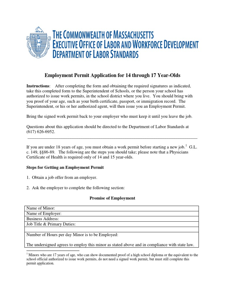 Employment Permit Application For 14 Through 17 Year Olds Grilling Employment