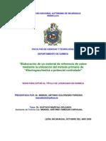 Elaboración material referencia cobre e incertidumbre Gum 1995 y Monte Carlo