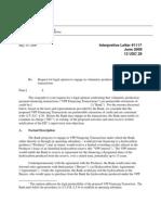 OCC No Action Letter 2009 on VPP