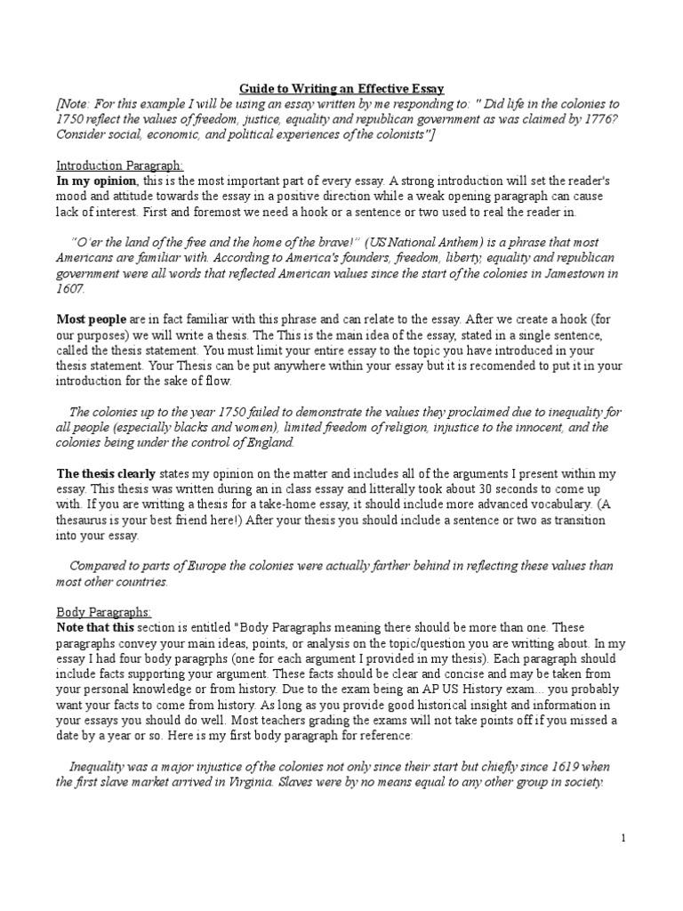 ap us essay example