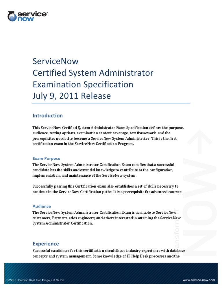 Exam Service Now Professional Certification Test Assessment