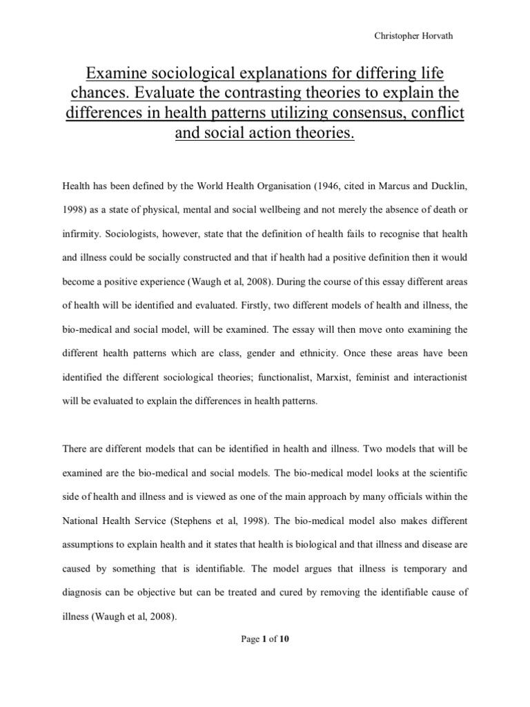 Sociology Of Health Essay | Health Equity | Sociology