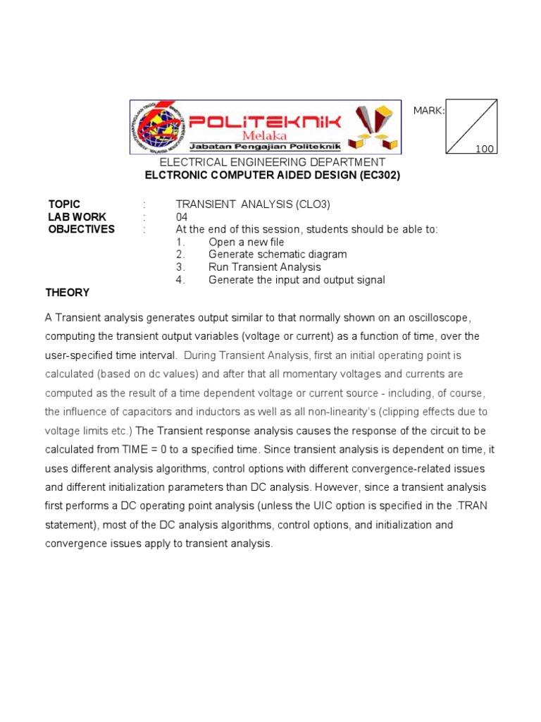 Lab 4a Transient Analysis Electrical Engineering Electromagnetism Circuitlab Rlc Band Stop Filter