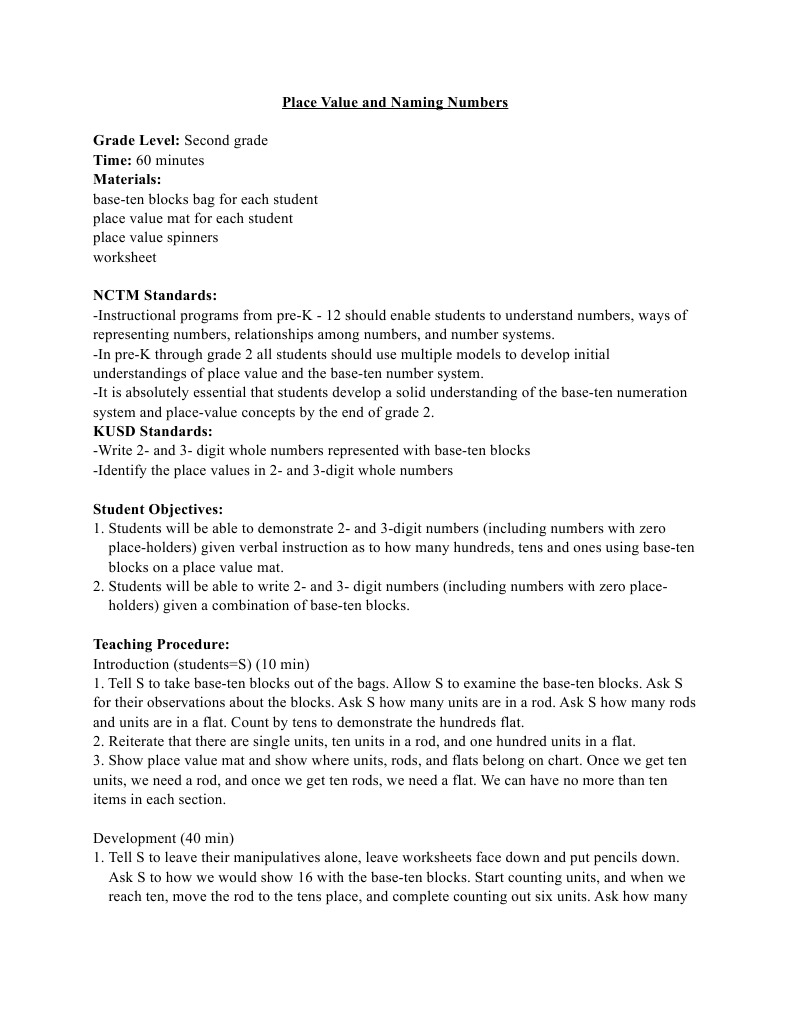 worksheet Rods And Units Worksheets place value lesson educational psychology cognitive science