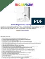 Fabric Inspector Job Description - Gihan Rangana