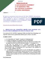 Memorandum RelatIf Aux Conversations d'ANNECYdu 10 Septembre 1932 en Ce Qui Concerne La Question Des Cartes Statistiques