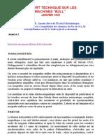 Rapport Technique Sur Les Machines Bull Janvier 1932 Par G Bolle