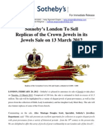 Sotheby's London To Sell Replicas of the Crown Jewels