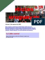 Noticias Uruguayas Viernes 2 de Marzo de 2012