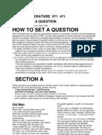 Setting Questions