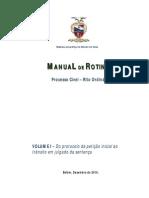 MANUAL ROTINAS Processo Civel Rito Ordinario Vol I