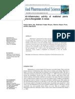 Anti-Inflammatory Activity of Medicinal Plants Native to Bangladesh
