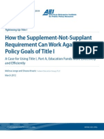 How the Supplement-Not-Supplant Requirement Can Work Against the Policy Goals of Title I