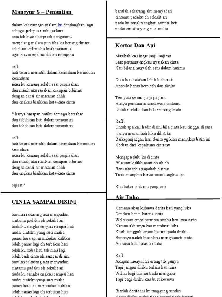 Lirik Lagu Mansyur S