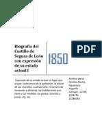 Biografía del Castillo de Segura de León con expresión de su estado actual
