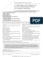 Critical Issues in the Diagnosis and Management of the Adult Psychiatric Patient in the Emergency Department