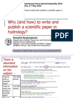 EGU 2010 Why (and How) to Write and Publish a Scientific Paper in Hydrology