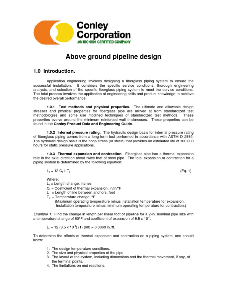 Above Ground Pipeline Design Thermal Expansion Pipe Fluid Piping Layout Rules Conveyance